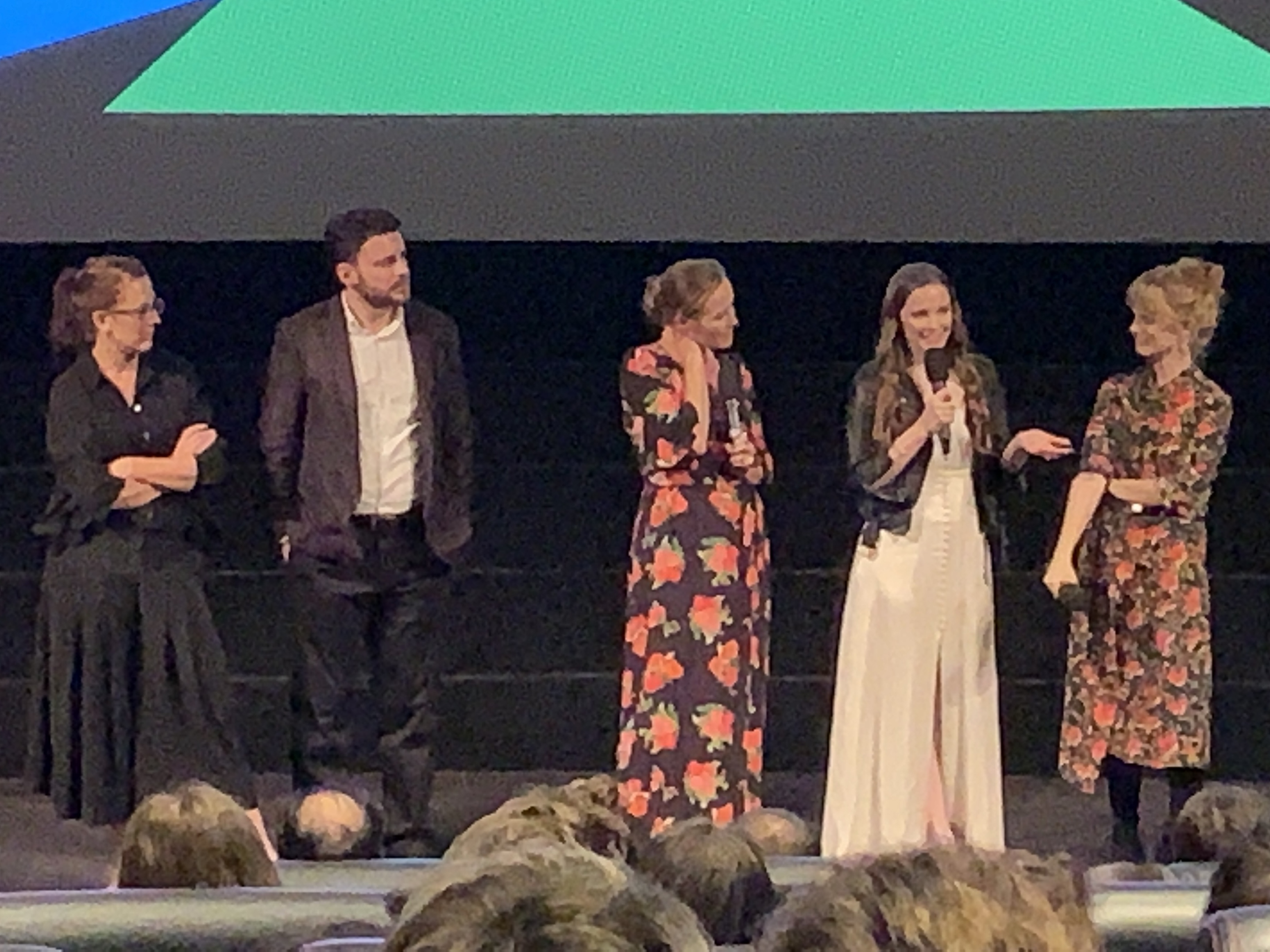 Saint Maud producers Andrea Cornwell and Oliver Kassman, actors Jennifer Ehle and Morfydd Clark and director Rose Glass at the London Film Festival on 5th October 2019